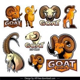 goat logo icons colored flat design