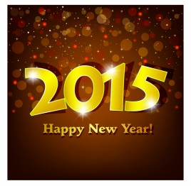 golden 2015 Happy New Year with sparking spot lights background