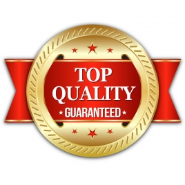 golden top quality seal badge with red ribbon