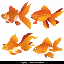 goldfish icons bright colored modern design swimming sketch