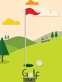 golf tournament banner green course icon cartoon design