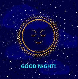 good night banner sleeping sun icon starry sky
