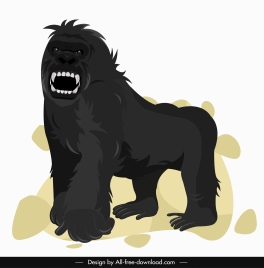 gorilla painting aggressive emotion sketch cartoon character