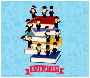 graduation vector illustration with cheering bachelors and books