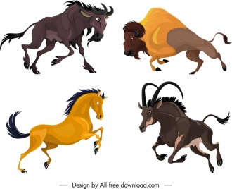 graminivore species icons antelope bull horse cartoon sketch