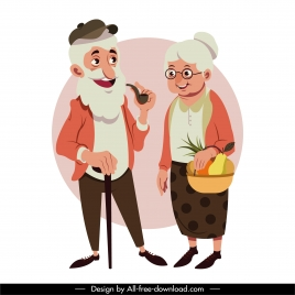 grandparents icons colored cartoon character sketch
