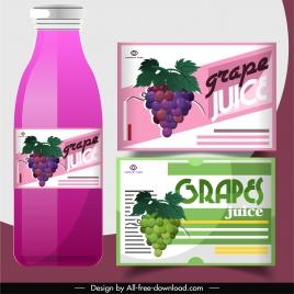 grape juice label templates colored flat modern design