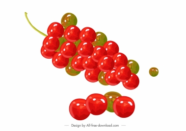 grapes fruits icons shiny colored modern sketch