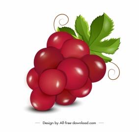 grapes icon red shiny decor modern design