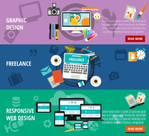 graphic design profession illustration with various colored types