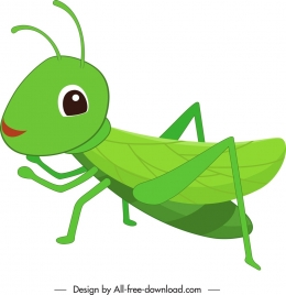 grasshopper bug icon green decor cartoon character sketch