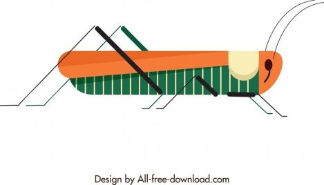 grasshopper icon classical colored design