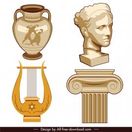 greek design elements ancient cultural objects sketch