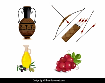 greek design elements pottery arrow olive fruits sketch