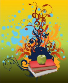 Green apple and red book in flora art