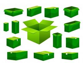 green carton box collection