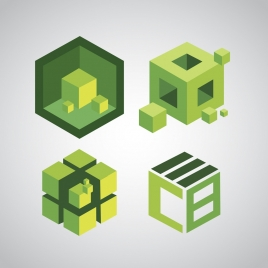 green cubes icons sketch 3d decoration