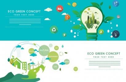 green ecology banners horizontal design lightbulb globe icons