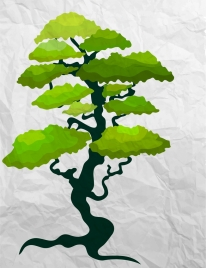 green tree drawing crumpled paper background