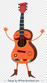 guitar music instrument icon stylized cartoon character