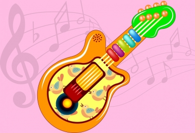 guitar toy icon colorful design birds decoration