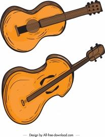 guitars icons colored retro design
