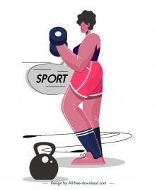 gym sport icon dumbbel woman sketch cartoon design