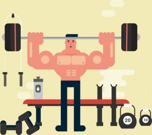 gym sport painting muscle man weight icons