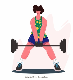 gymnasium sport icon woman dumbbell sketch cartoon character