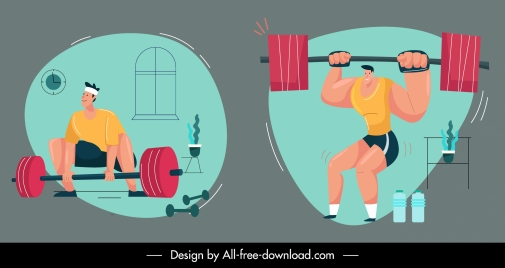 gymnasium sports icons colored cartoon sketch dynamic design