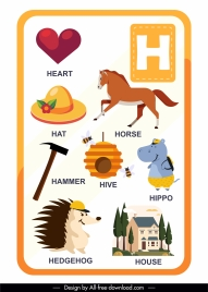 h alphabet educational template colorful emblems sketch