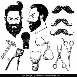 hairdressing design elements black white symbols sketch