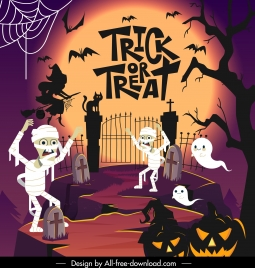 halloween background template scary characters sketch dark design