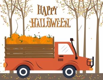 halloween background truck pumpkin autumn landscape decor
