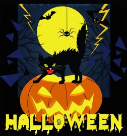 halloween banner scary cat spider pumpkin icons