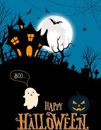 halloween banner scary night scene moonlight cemetery icons
