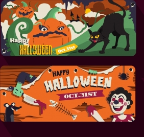 halloween banner templates colorful classical horror decor