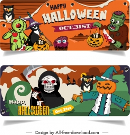 halloween banner templates colorful horror characters decor