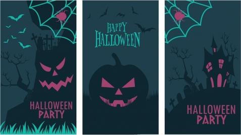 halloween banners templates dark horror design