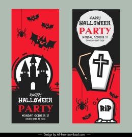 halloween card templates flat classical terrible elements