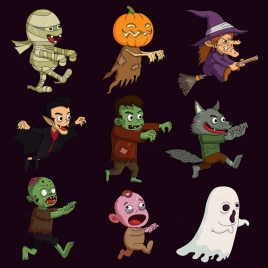 halloween characters icons funny cartoon design