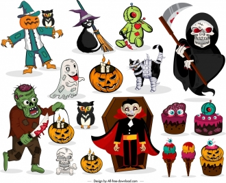 halloween design elements colored horror characters icons