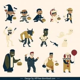 halloween design elements costumed cartoon characters sketch