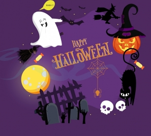 halloween design elements scary objects icons