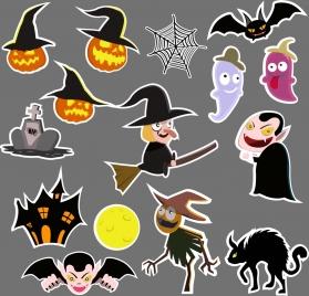 halloween design elements various colored flat symbols