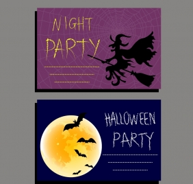 halloween invitation card templates wizard bat moonlight icons