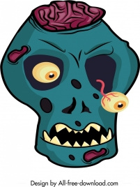 halloween mask template horrible skull icon cartoon character