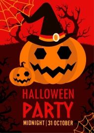 halloween party banner dark design horror pumpkin icons