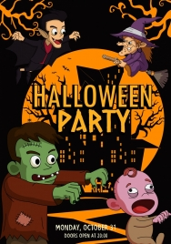 halloween party banner scary design elements dark colored