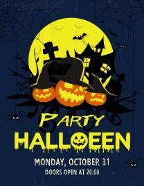 halloween party banner yellow moonlight melting texts decor